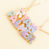 Custom Donut Two Name Necklace: Unicorn & Mermaid