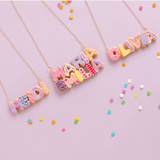 Custom Donut Two Name Necklace