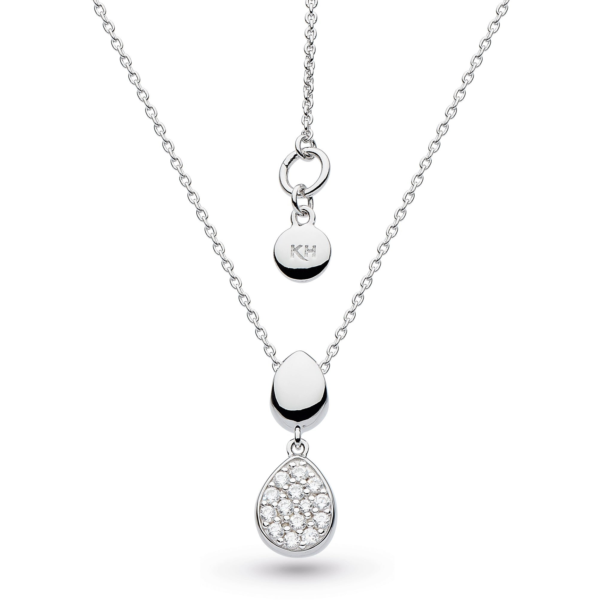 "KH Dro Coast Pebble Glisten CZ RP 18"" Necklace"