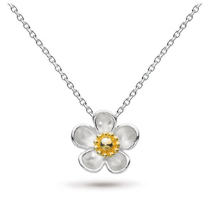 "KH Dro Blossom Wood Rose Large Gold Plate 18"" Necklace"