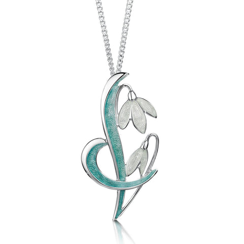 Snowdrop Sterling Silver Pendant Necklace in Leaf Enamel