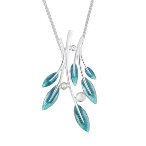 Rowan Six-Leaf Pendant Necklace in Sage Enamel with Moonstone, Pearl & CZ