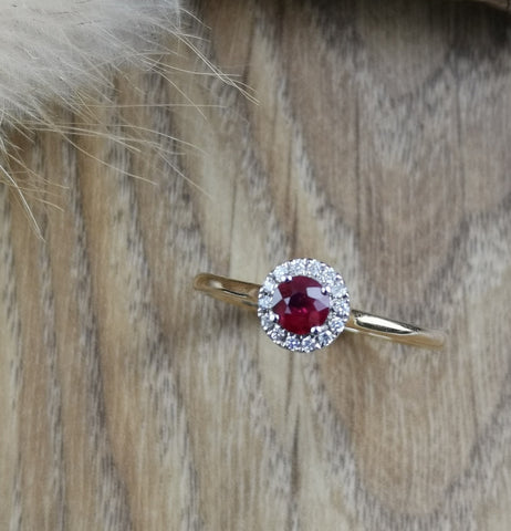 Round ruby halo ring