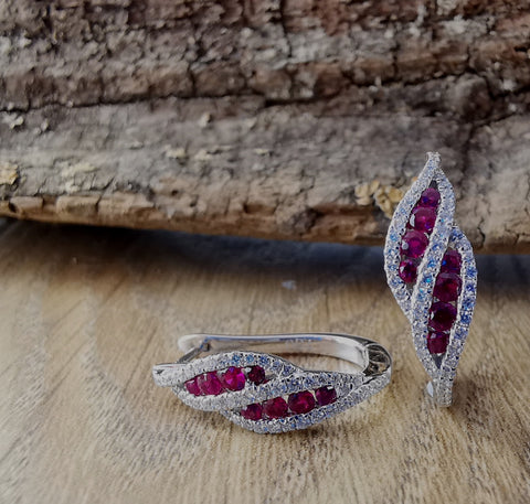 Ruby and diamond wave hoop earrings