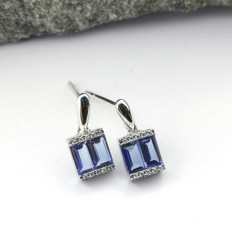 Baguette tanzanite drop earrings