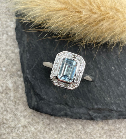 Aquamarine rubover halo ring