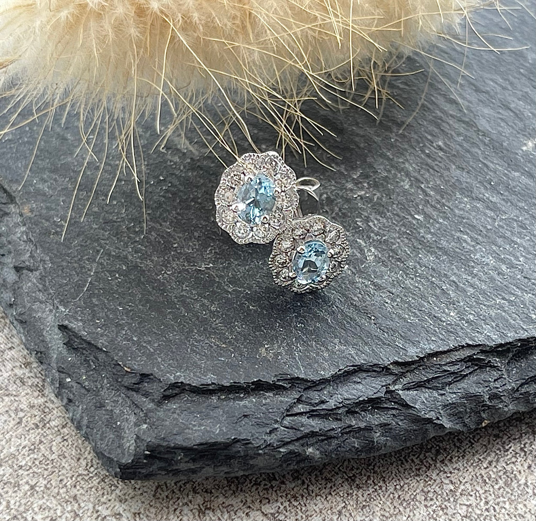 Vintage halo aquamarine earrings