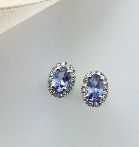 Oval tanzanite halo earrings