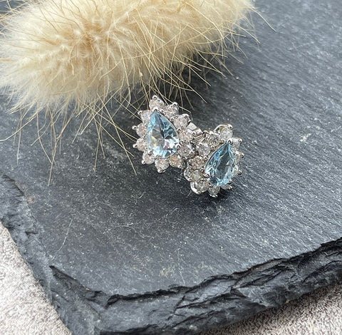 Pear shaped aquamarine cluster earrings