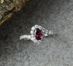 Oval ruby and diamond twist ring