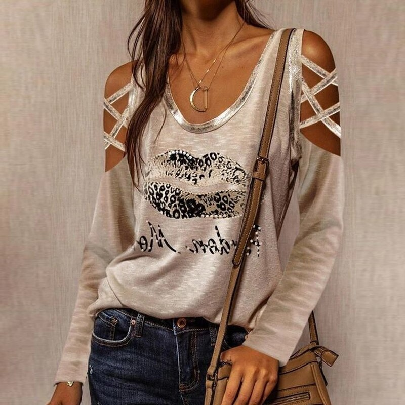 2021 Chic Rhombus Leopard Print Blouses Shirts Sexy Hollow Out Long Sleeve Pullover Tops Women Casual O-Neck Off Shoulder Blusas