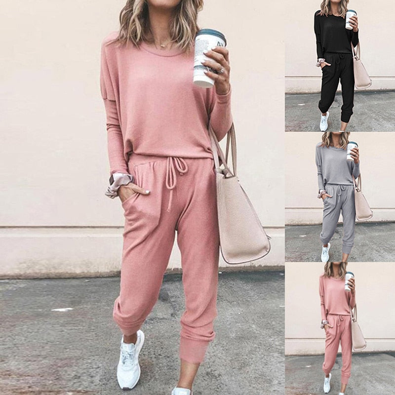 2021 Spring Autumn Tracksuit Women 2 Piece Set Loose Comfortable  Style Solid Color Long Sleeve Casual Suit Clothes S-XL