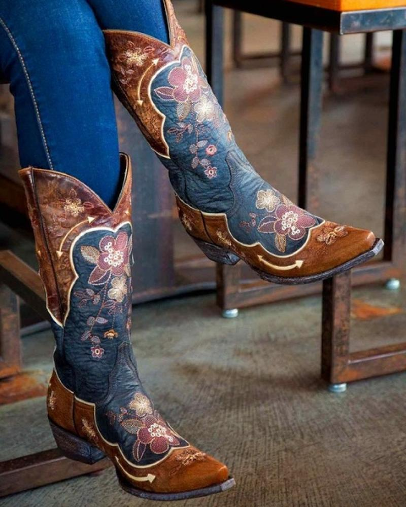 New Fashion Ladies Boots Floral Prited Embroidery Mid-Calf Boots Women's Retro Distressed Western Boots Cowgirl Casual Shoes