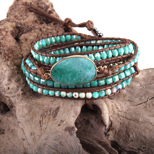 RH Fashion Leather Boho Armbander Green Mixed Natural Stones Charm 5 Strands Beaded Wrap Bracelets DropShipping