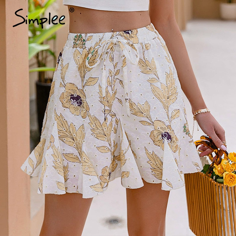 Simplee Casual Cotton floral print women's skirt Holiday style A-line ruffled short skirt Fashion lace-up female skirt 2021 new