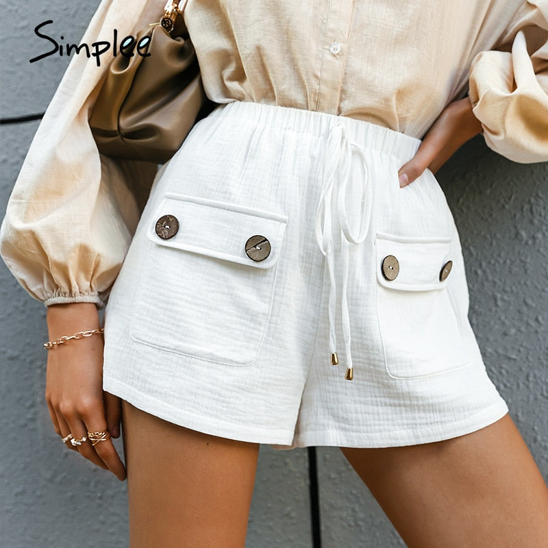 Simplee Cotton High-waist Straight-leg Shorts Casual Pocket Button Summer Female Shorts Elegant White loose office lady shorts