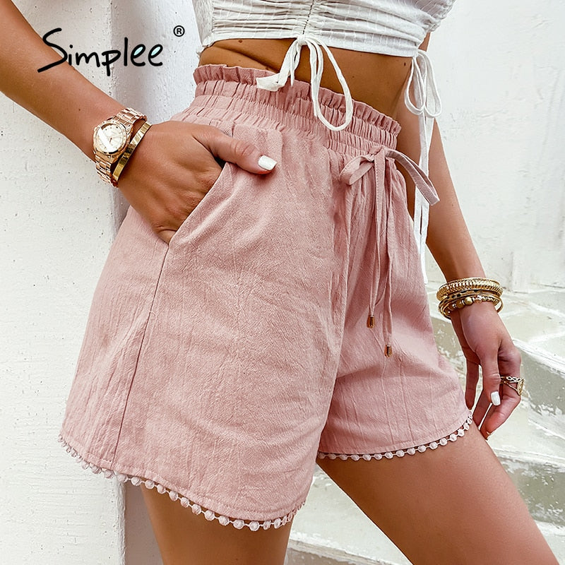 Simplee Elastic waist drawstring shorts Pocket dusty pink summer shorts woman Causal loose lace hollow out side shorts 2021 new