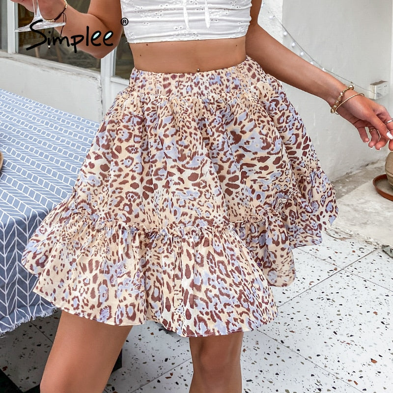 Simplee Leopard print casual women a-line mini skirt summer Fashion lady Elastic waist party bottom Sexy skirts high street 2021