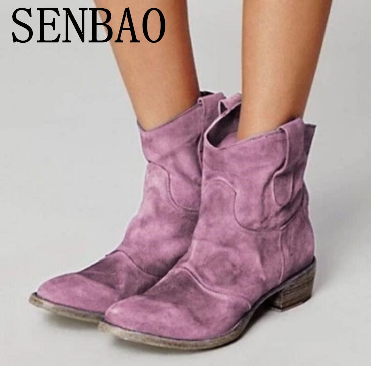 Women Ankle Boots Winter Suede Square Heel Pointed Toe Vintage Boots Women Botas Mujer Female Ankle Slip-on Cowboy Boots