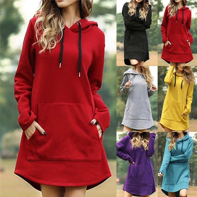 Women Long Hoodies Spring Autumn Casual Loose Hooded Pocket Pullover Sweatshirt Winter Harajuku Kpop Oversized Hoodie Dress Plus
