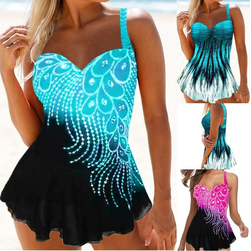 Women Print Tankini Swimming Suits 8XL Backless Sling Push Up Two Piece Set Bikini Sets Beach Monokini Sexy Swimsuit Plus Size
