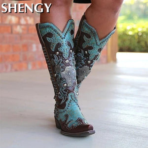 Women Shoes Sewing Patchwork Slip-On Mixed Color Flower Print Western Women's Shoes Rome Buckle Party Retro Ladies Boot