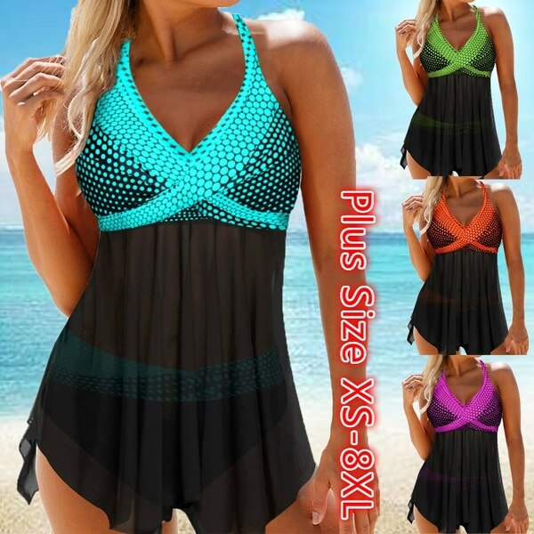 Women Swimwear Tankini Set Print Bikini Female Swimsuit Beachwear Sexy Beach Backless Padded Femino Bathing Suit Plus Size