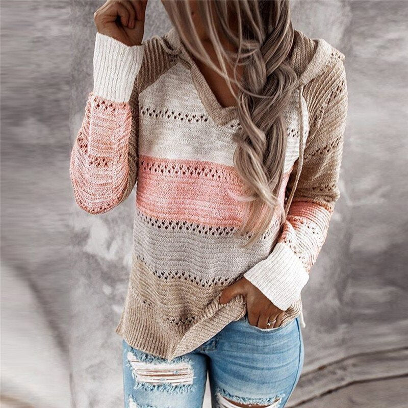 Women V Neck Patchwork Hooded Sweater 2020 Autumn Casual Long Sleeve Knitted Sweater Top Female Striped Elegant Pullover Jumpers