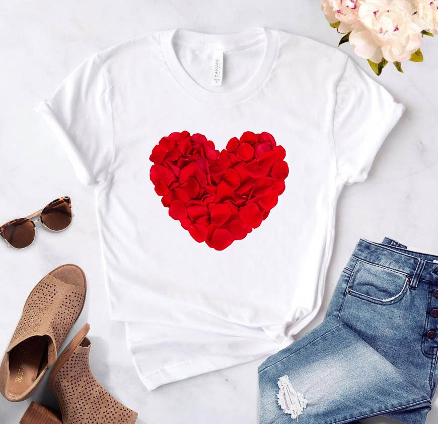 Women's T-shirt Heart Flower Print Women's Casual Summer T-shirt Basic O-neck White Short Sleeve Women's T-shirt Love Graphics