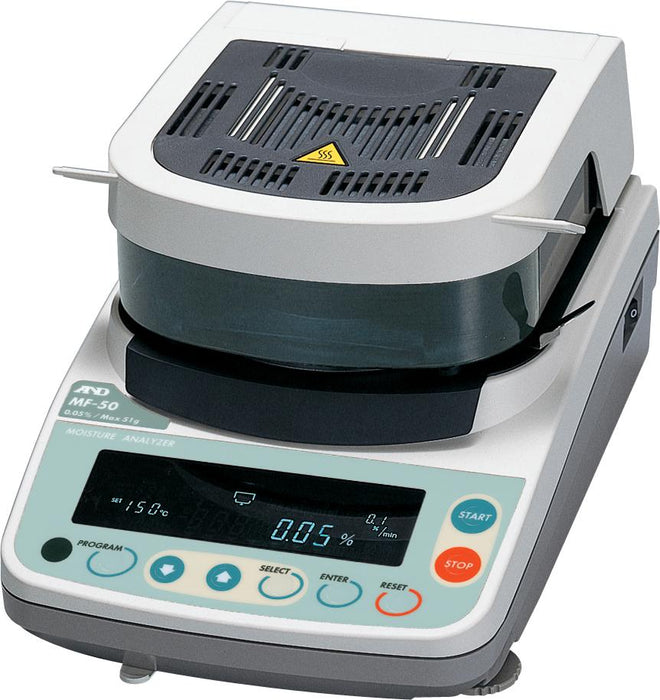 A&D MF50 Moisture Analyzer (Refurbished Unit), 51 g Capacity, 0.002 g Readability