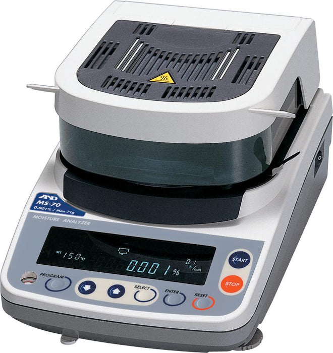 A&D MS70 Moisture Analyzer (DEMO UNIT), 71 g Capacity, 0.0001 g Readability