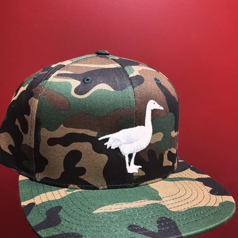 Flat Bill: Camouflage Hat, White Goose
