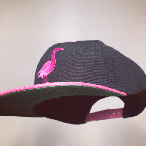 Flat Bill: Black Hat, Hot Pink Goose
