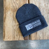 Beanie: Dark Gray, White Embroidery