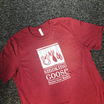 T Shirt: Maroon, White Smoking Goose Logo Front
