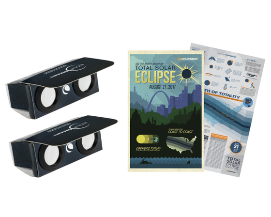 Celestron EclipSmart 2X Power Viewers Eclipse Glasses Solar Observing Kit (2 Pack)