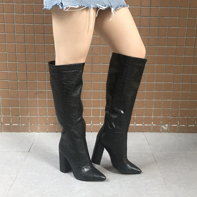 Valerie Designer Faux Leather High Boots