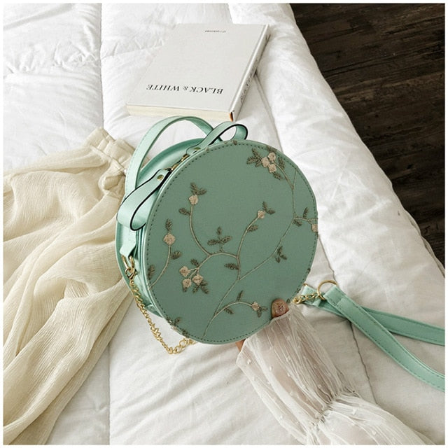 Round Handbag with Flower Design