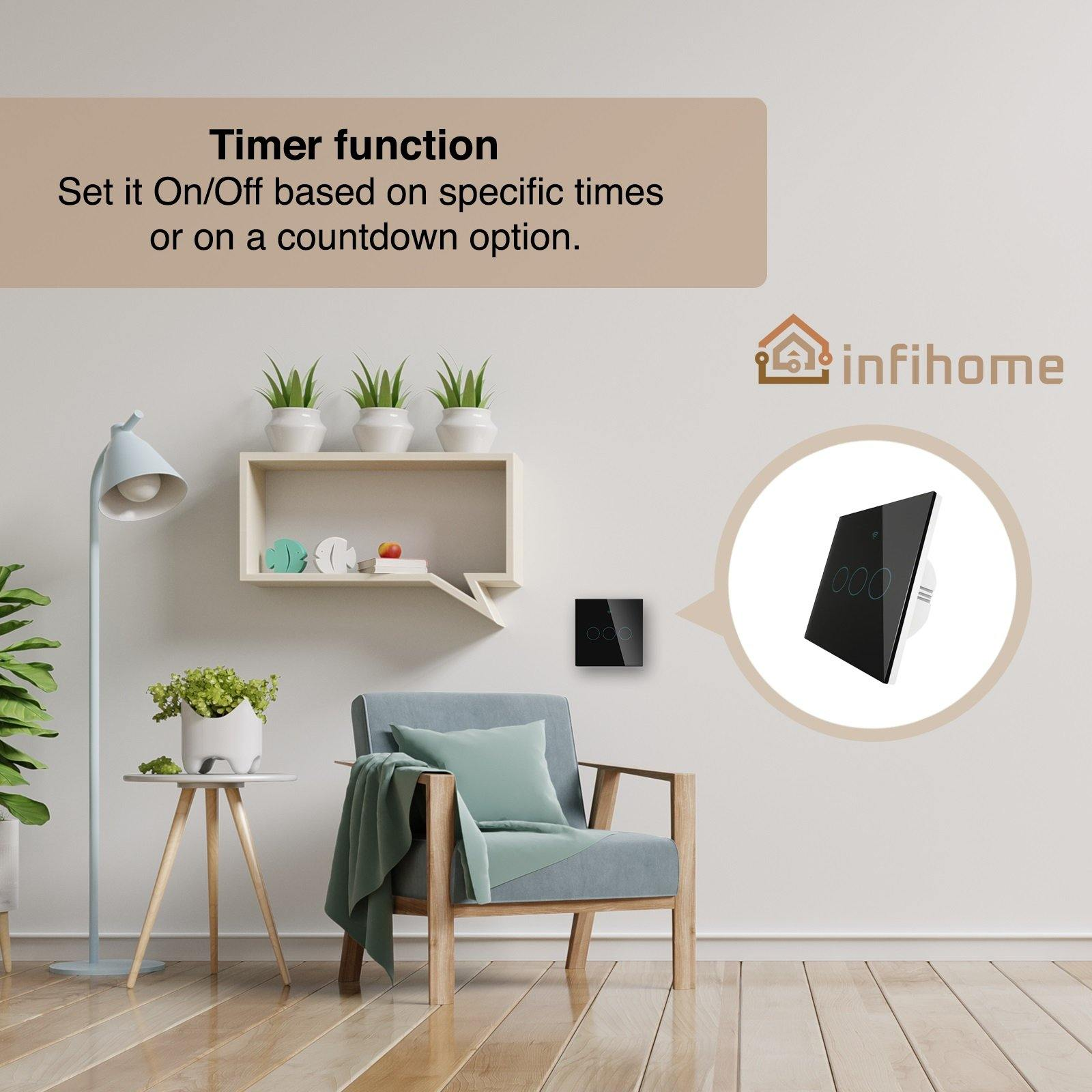 WiFi Smart Touch Light Switch (EU Black, 1, 2, or 3 Way Control) - InfiHome