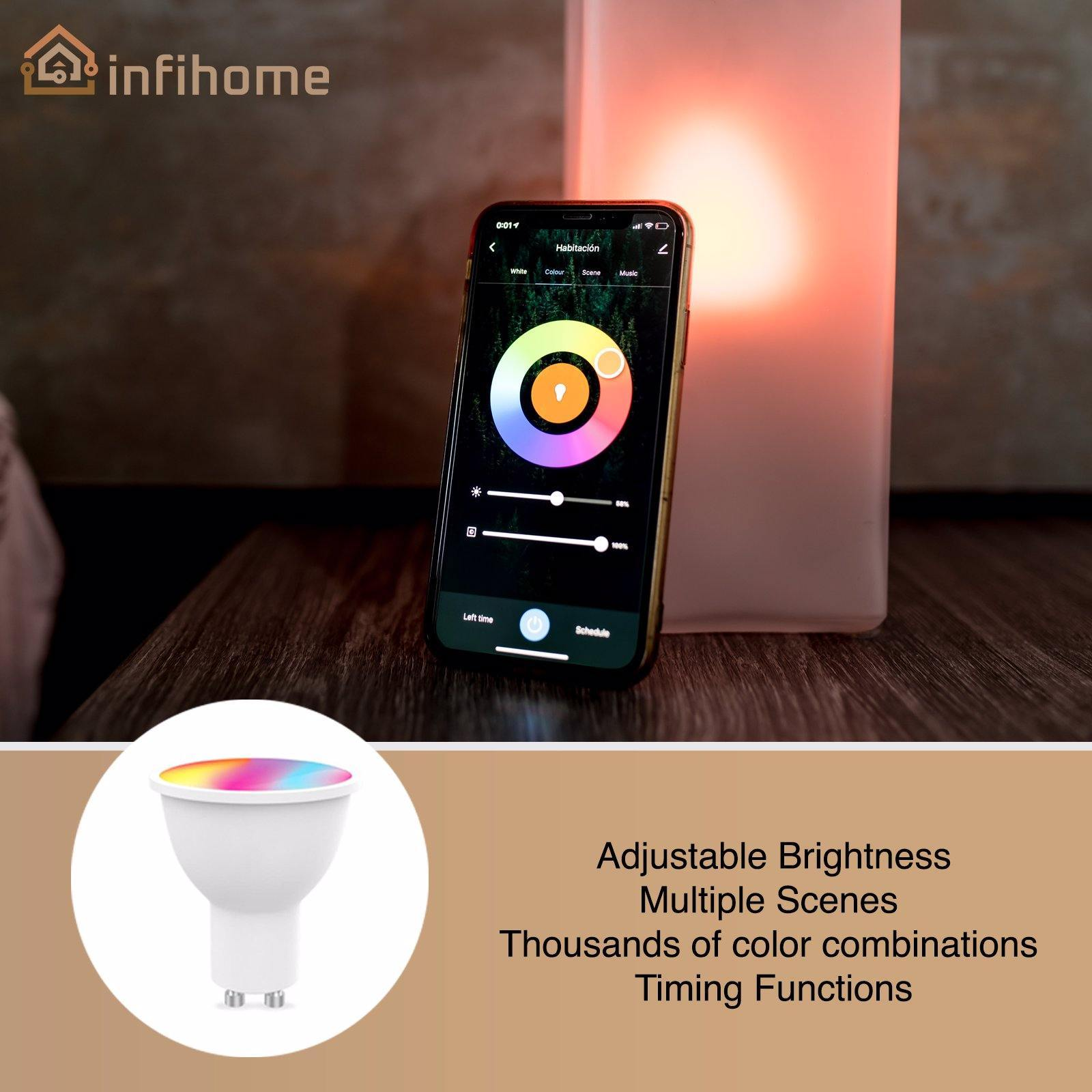 WiFi Smart LED Dimmable Lightbulbs, RGBW Cold +Warm White, GU10 - InfiHome