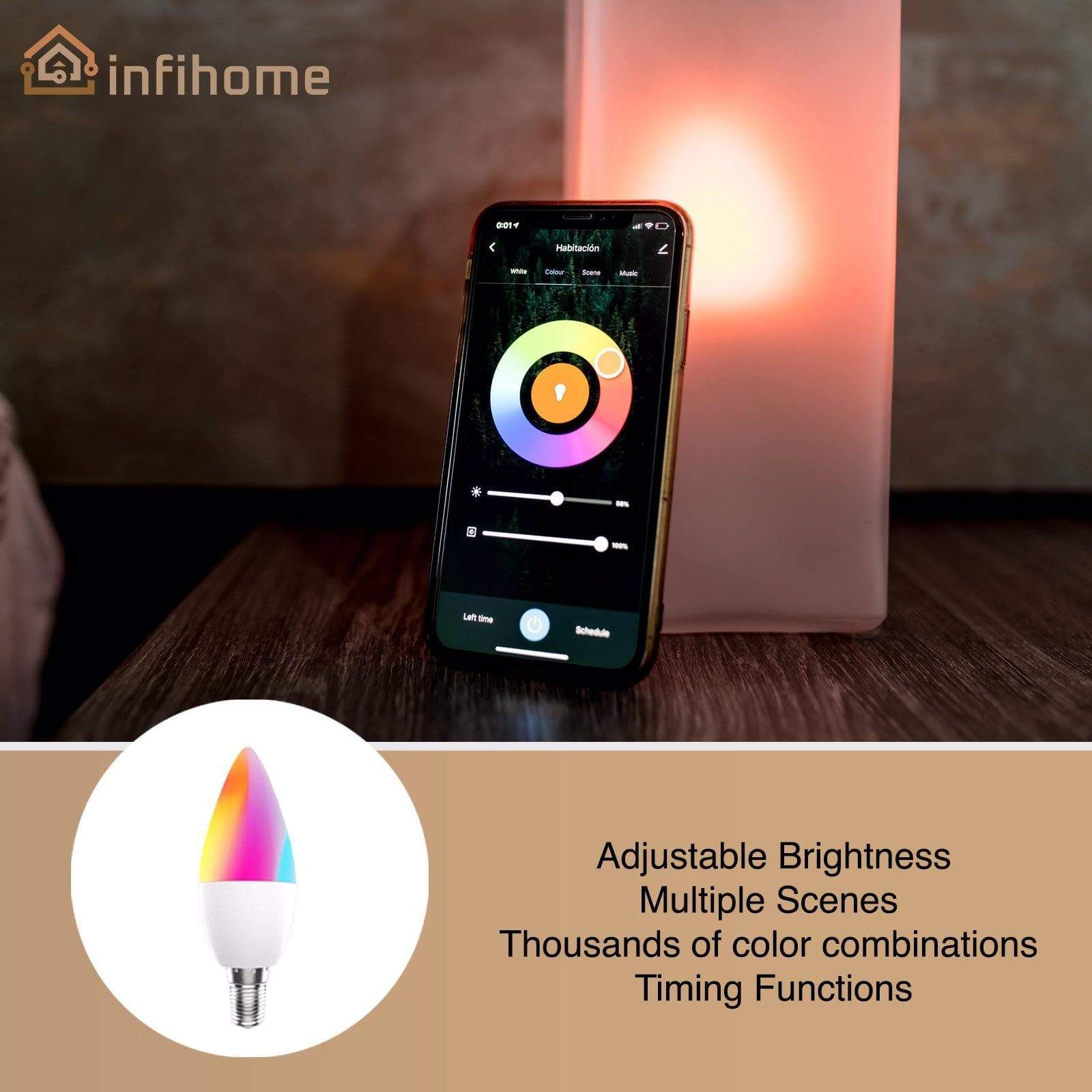 Smart WiFi LED Bulb RGB 2700-6500K Dimmable  C+W 4.5W - InfiHome