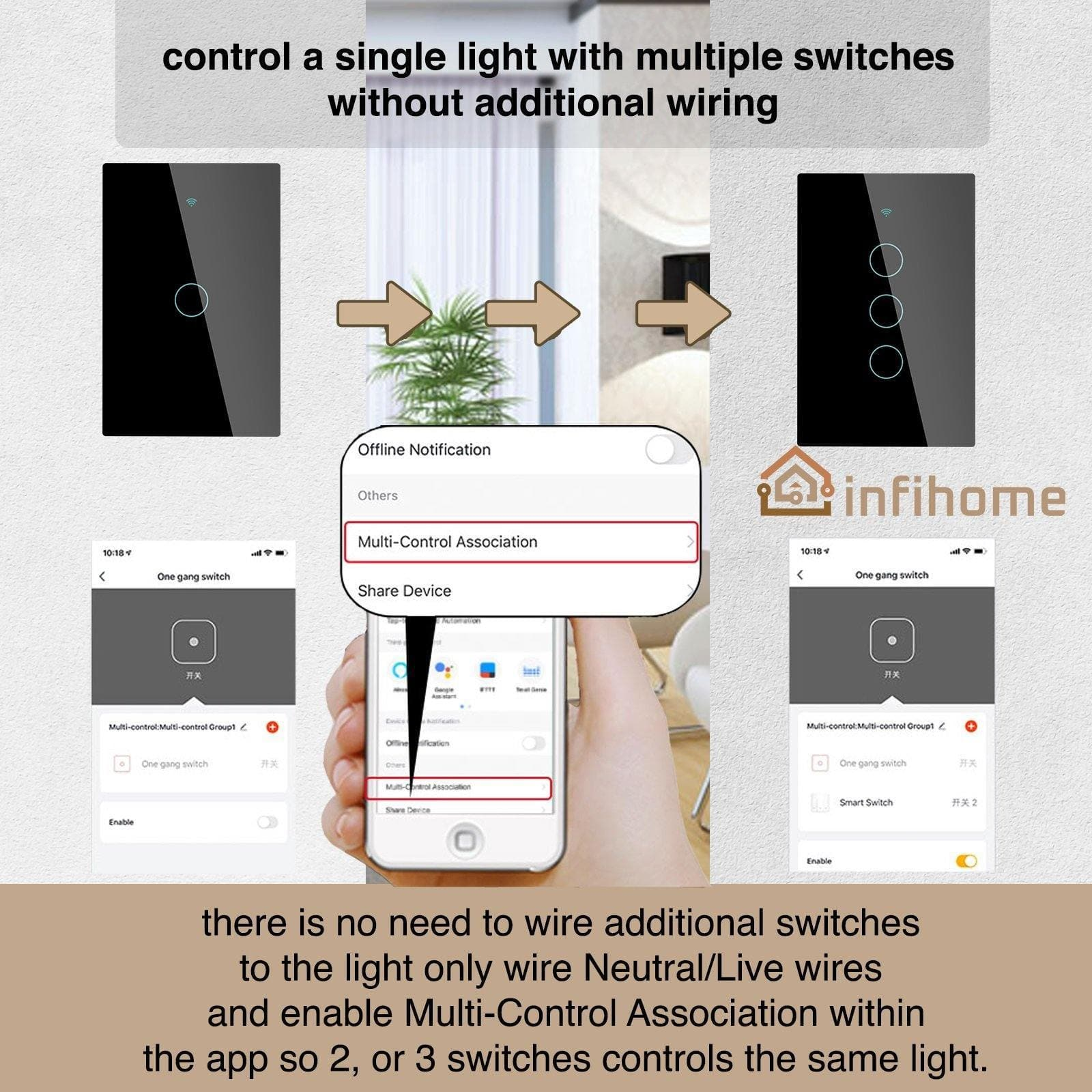 Smart Light Switch, Black Touch Glass, No Neutral Wire Required [US]