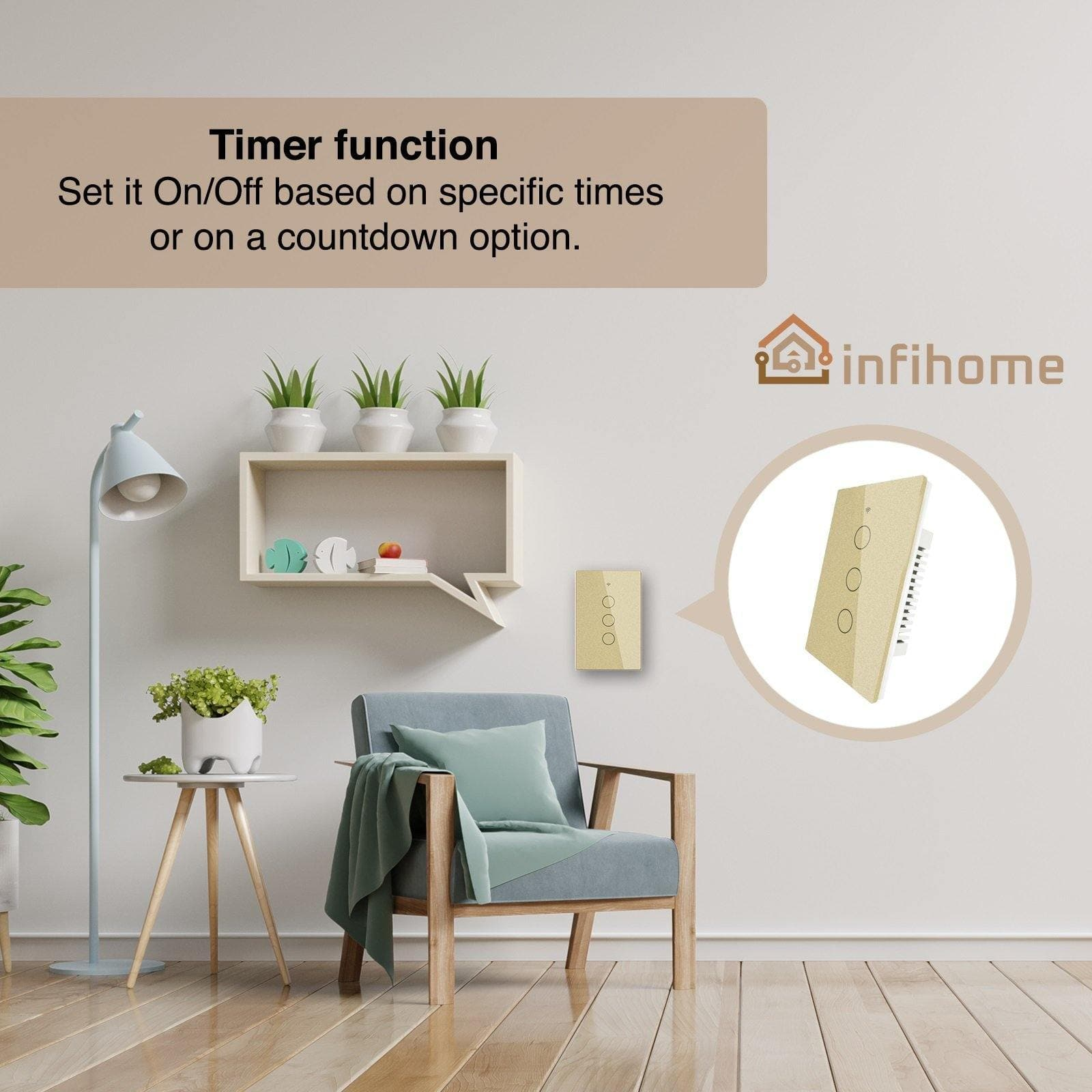 SMART LIGHT SWITCH W/ TOUCH GLASS (US GOLD, 1 2 OR 3 BUTTON) - InfiHome