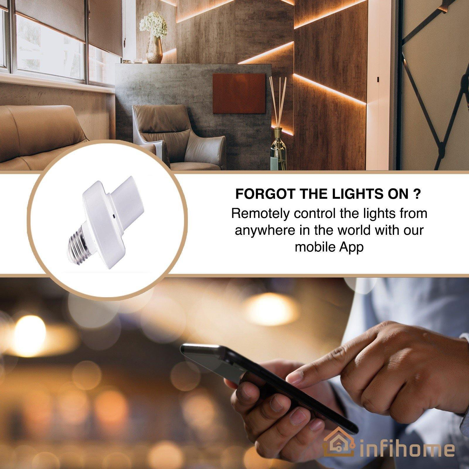 WiFi Smart Light Bulb Adapter E27 E26 85-265V - InfiHome