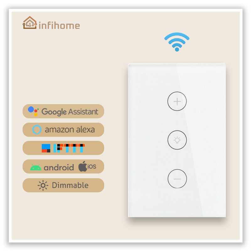 WiFi Smart  Touch-Panel Light Dimmer/Switch (US White) - InfiHome