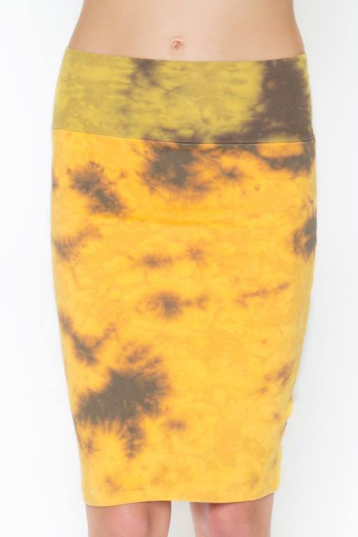 Acid Wash Tie Dye Bodycon Skirt