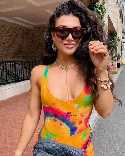 Multi Color Rainbow Tie Dye Bodysuit - Youngwildandserene