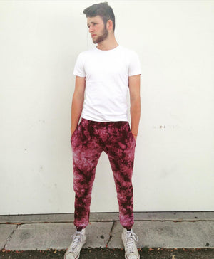 Open image in slideshow, Acid Wash Burgundy Tie Dye Joggers