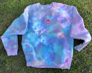 Smiley Patch Rainbow Tie Dye Crewneck - Youngwildandserene