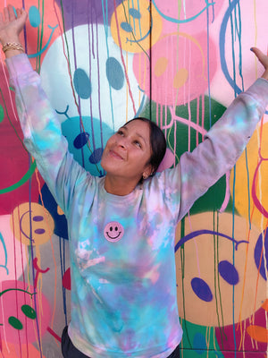 Open image in slideshow, Smiley Patch Rainbow Tie Dye Crewneck - Youngwildandserene